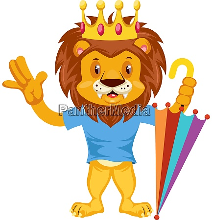 lion with umbrella illustration vector on