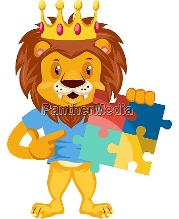 lion with puzzle illustration vector on