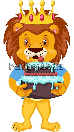 lion with birthday cake illustration vector