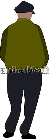 man with hat illustration vector on