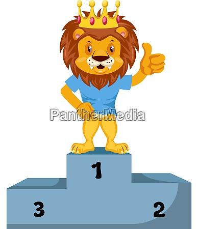 lion on winning stage illustration vector