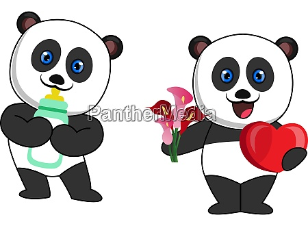 pandas with milk and flowers illustration
