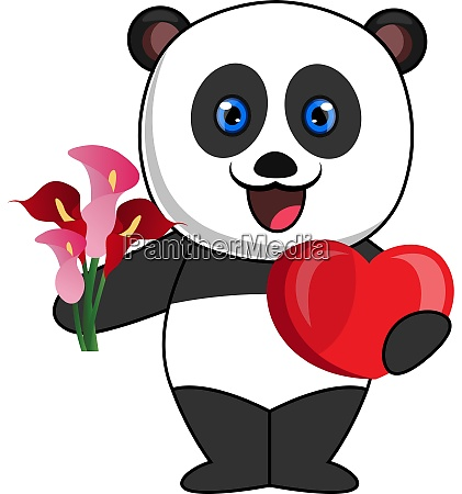 panda with heart and flower illustration