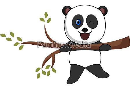 panda on a branch illustration vector