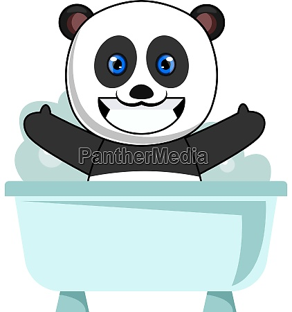 panda taking bath illustration vector on