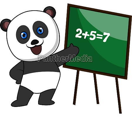 panda doing math illustration vector on