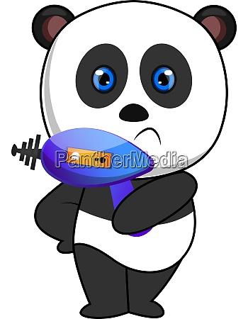 panda with laser gun illustration vector