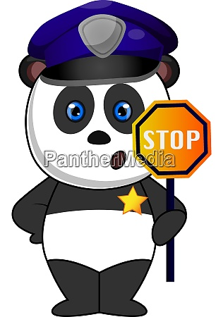 police panda illustration vector on white