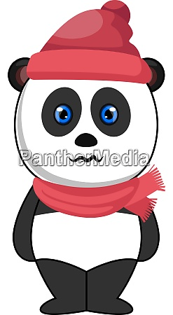 panda with hat and scarf illustration
