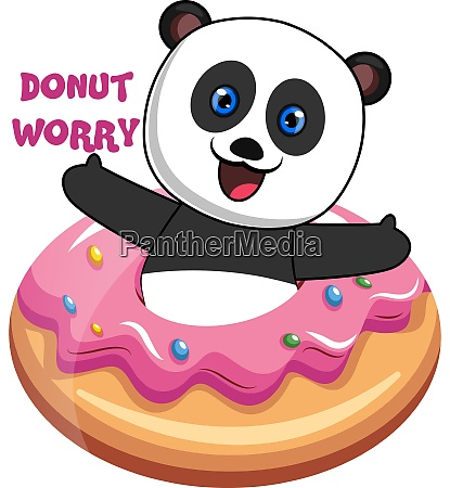panda with donut illustration vector on