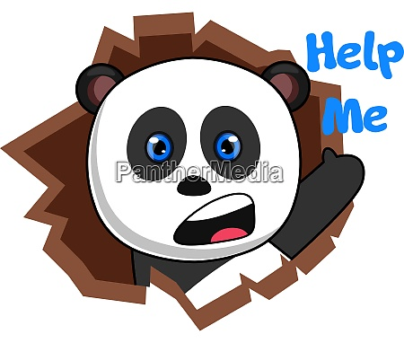panda asking for help illustration vector