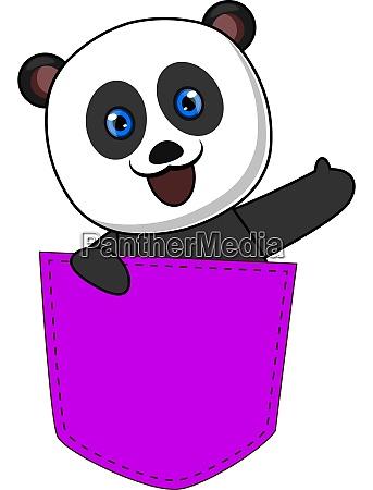 panda in purple pocket illustration vector