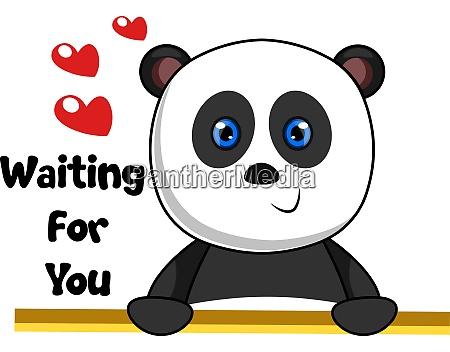 panda waiting love illustration vector on
