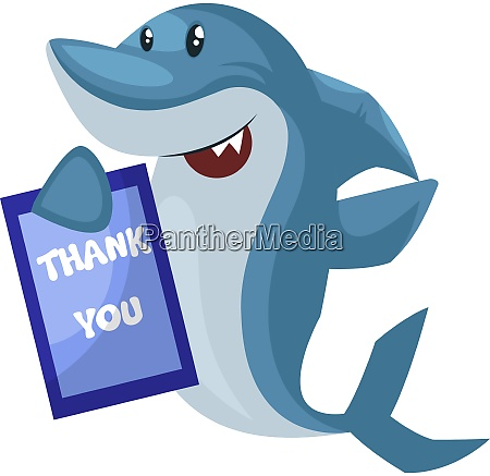 shark with thank you note illustration
