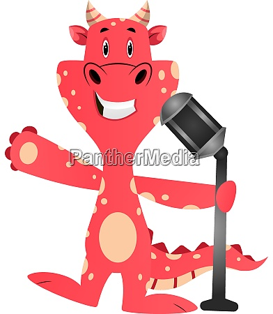 red dragon is holding microphone illustration