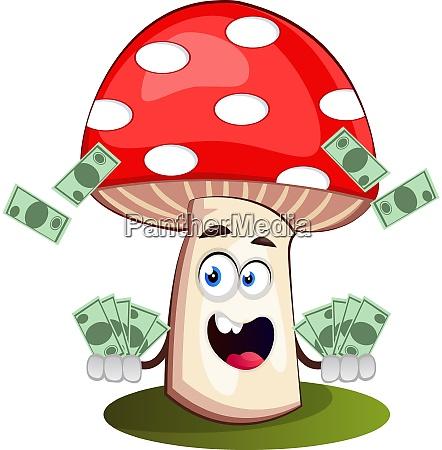 mushroom with money illustration vector on