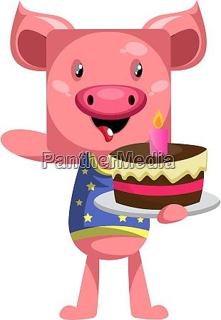 pig holding cake illustration vector on