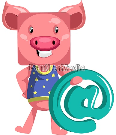 pig with sign illustration vector