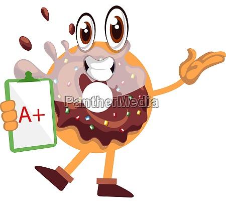 donut mit guter note illustration vektor