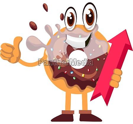 donut mit pfeilzeichen illustration vektor auf