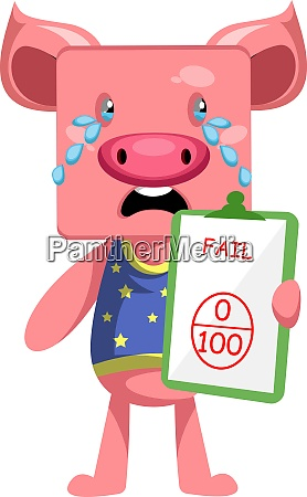 pig with bad grade illustration vector