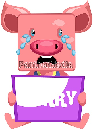 pig with sorry sign illustration vector