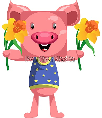 pig with flowers illustration vector on