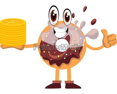 donut with coins illustration vector on