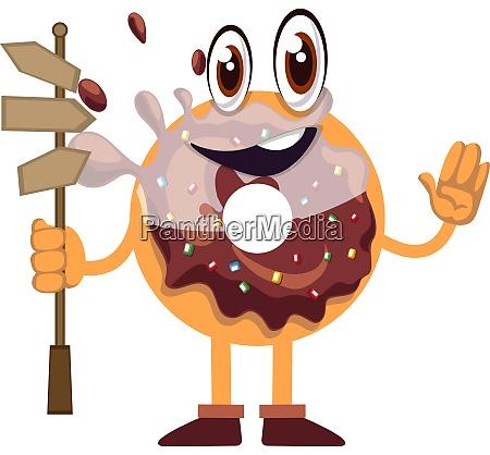 donut mit strassenschild illustration vektor auf
