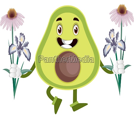 avocado holding flowers illustration vector on