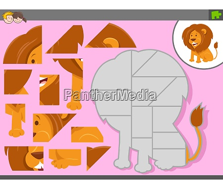 puzzle spiel mit cartoon loewe tier