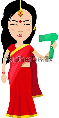 indian woman with hair dryer illustration
