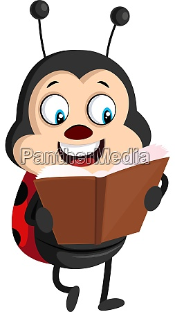lady bug with book illustration vector