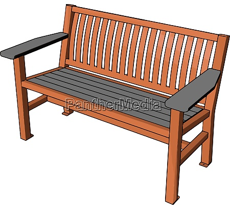 brown bench illustration vector on white