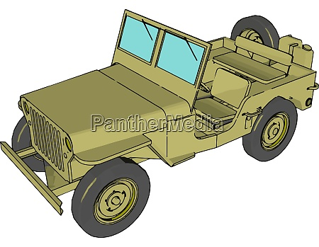 green military jeep illustration vector on