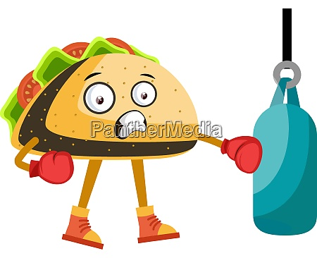 taco boxing illustration vector on white
