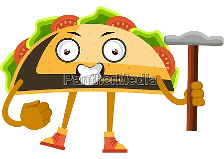 taco with hammer illustration vector on