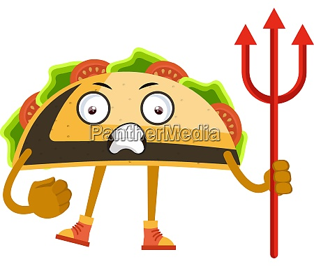 taco with devil spear illustration vector