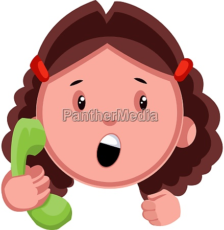girl with green phone illustration vector