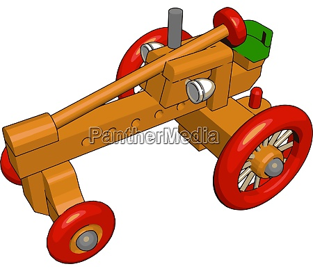 red tractor toy illustration vector on