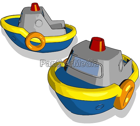 two blue little ship toy illustration