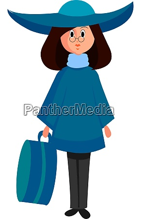 girl with blue hat illustration vector