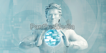 asiatischer geschaeftsmann mit digitalen loesungen
