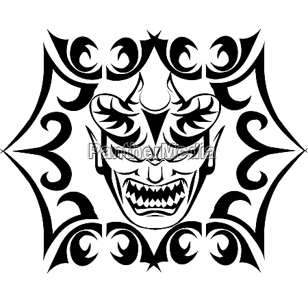 monster tattoo design vintage gravur
