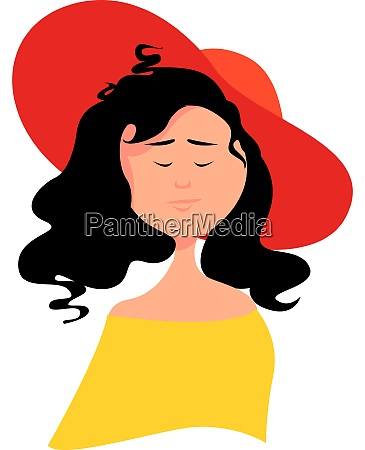 woman with red hat illustration vector