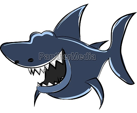 blue shark illustration vector on white