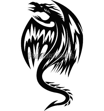 fliegende drachen tattoo vintage gravur