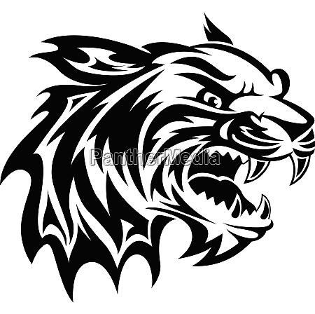 tiger kopf tattoo vintage gravur