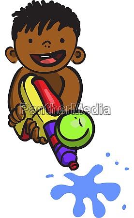 boy with water gun illustration vector
