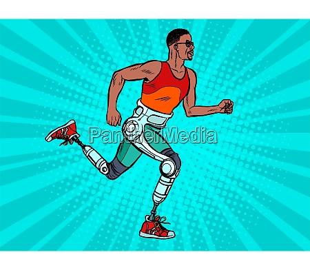 behinderter afrikanischer mann laeuft mit beinen